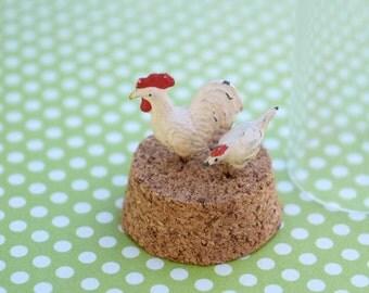 Miniature chicken rooster lead figurines farm animals antique toys cast iron farmhouse barn animals office decor miniature collection