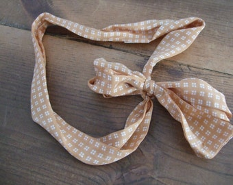 Vintage Glentex Silk Scarf Tan with White Dots