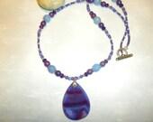 Purple And Blue Teardrop Agate Necklace