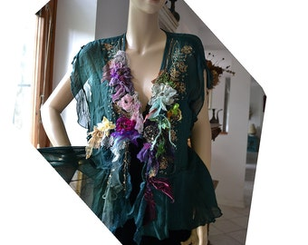 Unique Romantic Green/Teal Forest Jacket WILD ROSES Twenties Style Antoinette Cinderella Tattered