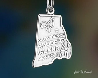 Sterling Silver Rhode Island Charm State America Providence Solid .925