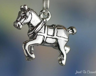 Draft Horse Charm Sterling Silver Clydesdale Shire Belgian Solid .925