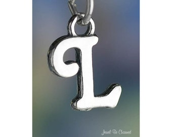 Sterling Silver Script Letter L Charm Initial Cursive Shiny Solid .925