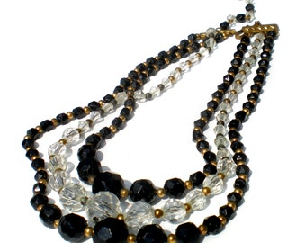 Black & White Glass Necklace Graduated Faceted Beads Multi-Strand - Formal Vintage Jewelry Adjustable to 16""
