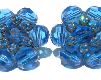 Bright Blue Cluster Clip Earrings with Rhinestones Signed Vogue - Formal Vintage Jewelry