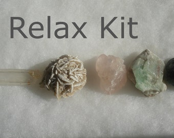 Relax, Rebalance, Restore Crystal Kit, sleep, deep rest, nap, stress/pain relief, stone set, 5 stones, relaxation guide, booklet,  diagram