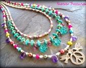 Colorful Layered Gemstone Necklace, Peace Dove Pendant, Genuine Turquoise Necklace, Amethyst, Southwestern Jewelry