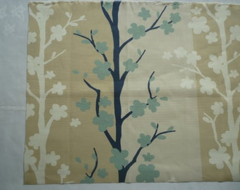 4 Navy Robins Blue Napkins Funky Taupe Retro Beige Brown Floral Fabric washable ANY of MY DESIGNS