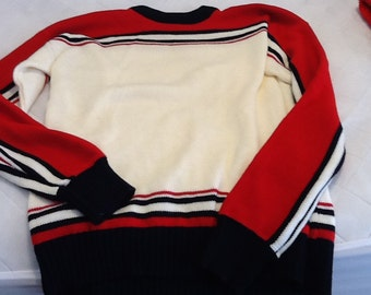 Vintage Men's Sweater Troy Hill Ltd. Long Sleeved Red White and Blue with Stripes