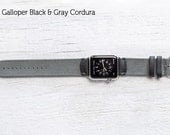 The Field Strap for Apple Watch and Series 2 - Galloper Black and Gray Cordura with Silver Hardware 42mm