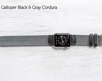 SECONDS - The Field Strap for Apple Watch - Galloper Black and Gray Cordura with Silver Hardware 42mm