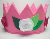Felt Crown with Flowers, Pretend Play, Princess Crown, Dress Up, Party Crown Hat,