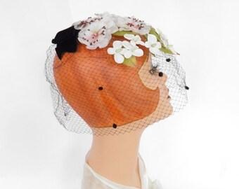 1960s vintage hat, black flowered whimsy veil