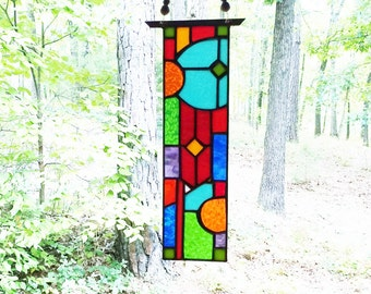 Elegant Stained Glass Panel Glass Art abstract stained glass suncatcher art glass gift window treatment