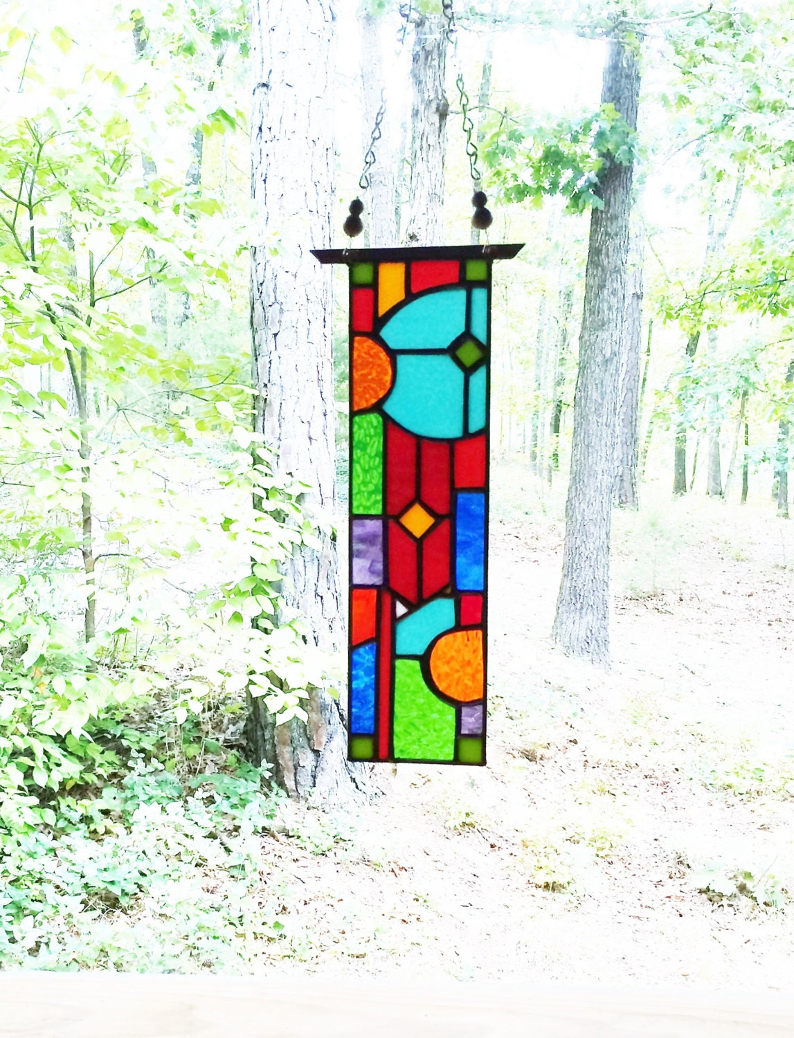 elegant stained glass panel glass art abstract stained glass