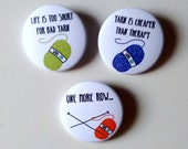 Badges for knitters, set of 3, english, knitter and yarn pinback buttons