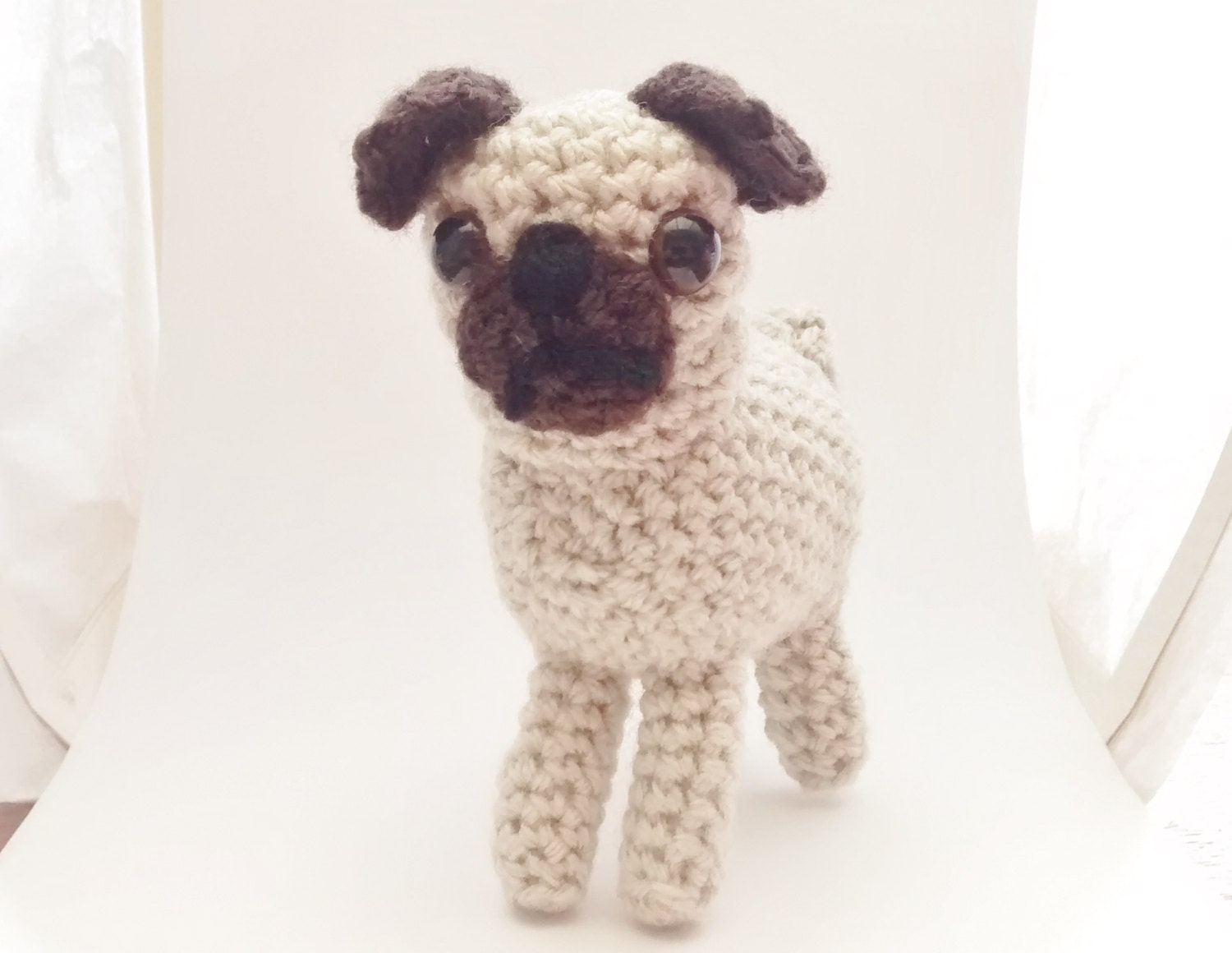 Free Crochet Pattern For Pug Dog : Portia Pug and Puppies pdf crochet pattern