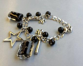Black charm bracelet