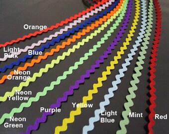 "Ric Rac Trim 1/4"" - Mini Ric Rac Trim Rick Rack , Zig Zag Ribbon , 11 Available Color"