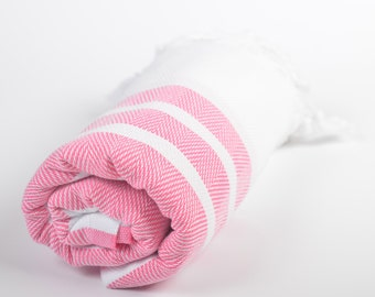 50% sale chevron beach towel, handwoven cotton peshtemal, turkish beach towel, yoga sport spa towel, chevron shawl, pink white