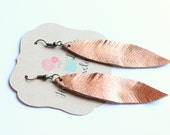 Small Copper Leather Feather Earrings