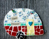 Vintage Happy Camper Mosaic Wall Art with Beaded Hanger MADE TO ORDER