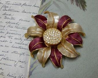 Gold Tone & Burgundy Sunflower Brooch or Pendant