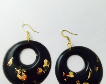 Resin black and Gold Earrings