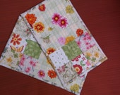 Spring flowers quilted mug rugs set of 2 rugs