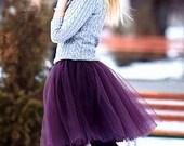 Eggplant Tulle Tutu Skirt, Dark Purple, Plum, Adult, Women