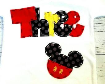 Mickey mouse birthday shirt, 3, three, girl boy t shirt,