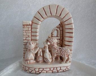 Ceramic Nativity Animal Scene in Arch Display, Glazed Ceramic Nativity, Christmas Animals, Nativity Scene