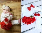 Christmas Holiday Baby Girl Outfit Set of up to 4 Items. Lace Diaper Cover, Leg Warmers, Red & Gold Bow Bodysuit. Newborn Coming Home