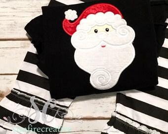 Santa Christmas Outfit - Baby Girl Christmas - Santa - Ruffle Pants Tunic - Ready to Ship Christmas Outfit