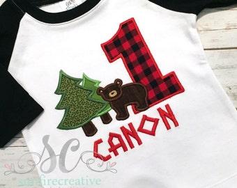 Boy Birthday Lumberjack Shirt Bear Trees - First Birthday Shirt - Boy Birthday Shirt - Woodland Birthday Shirt - Red Buffalo First Birthday