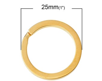 10 pcs. Gold Plated Split Rings Key Rings - 25mm (1 inch)