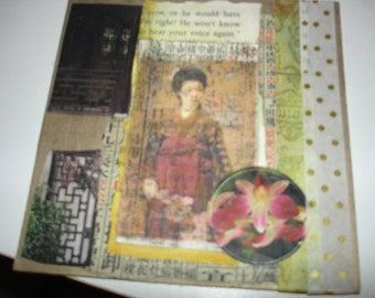 ALTERED Art card collage of Asian theme pictures