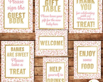 Pink And Gold Baby Shower Table Signs With Confetti, Drinks, Food, Welcome,