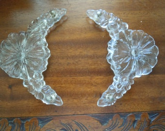 Vintage Pair Decorative Glass Flower Vanity Tray Handles with Hardware Dresser Vanity Tray Supply