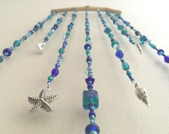 Cobalt Blue & Turquoise Beaded Hanging Mobile, Ocean Beaded Hanging Mobile, Blue Beaded Hanging Mobile, Turquoise Beaded Hanging Mobile