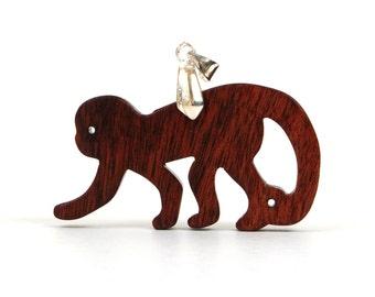 Wood Monkey Necklace, Animal Pendant, Year of the Monkey, Monkey Jewelry, Monkey Pendant, Imbuia