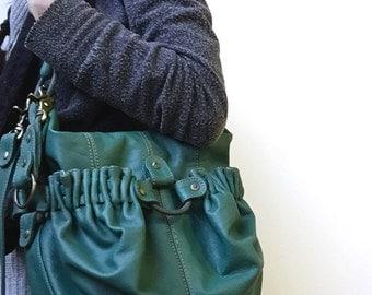 Voima Handbag- ready-to-ship bag- green leather handbag- green leather crossbody bag- jade green leather- luxury handbag- couture handbag