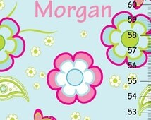 HOLIDAY SALE Pretty Flowers Butterflies and Paisleys Girls Growth Chart