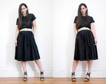 Vintage Black Floral Cotton Hippie Dress