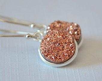 Druzy Earrings, Rose Gold Drusy, Copper, Sterling Silver Jewelry, Drop Earrings, Free Shipping