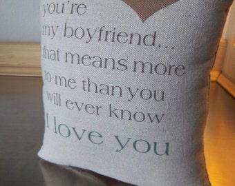 Throw pillow boyfriend pillows guy gifts I love you cushion my boyfriend gift ideas man cave keepsake gift for boyfriends guy decor gifts