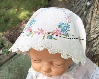 Vintage Hankie Baby Bonnet