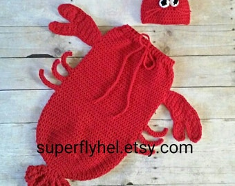 Lobster Costume, Lobster Cocoon Set, Lobster, Baby Lobster Photography Prop, Shell Fish Costume, Crustacean Costume