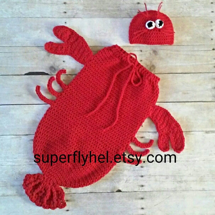 Lobster Costume Lobster Cocoon Set Lobster Baby by superflyhel