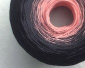 Color Change Gradient Yarn - peach licorice - 'Moca Cotton' Yarn - 3 colors - 540 yards - fingering weight yarn - pure cotton